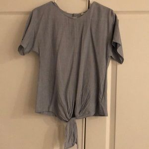 Madewell tie front stripe blouse xs